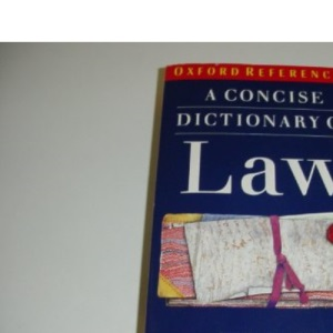 A Concise Dictionary of Law (Oxford Paperback Reference)