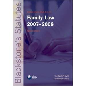 Blackstone's Statutes on Family Law 2007-2008 (Blackstone's Statute Book)