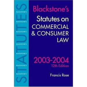 Statutes on Commercial and Consumer Law (Blackstone's Statutes)