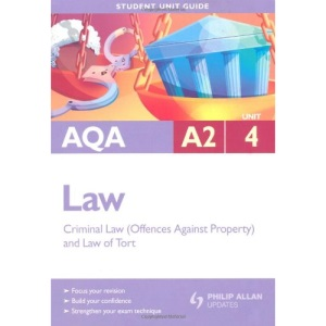 AQA A2 Law: Unit 4: Criminal Law (Offences Against Property) and Law of Tort (Student Unit Guides)