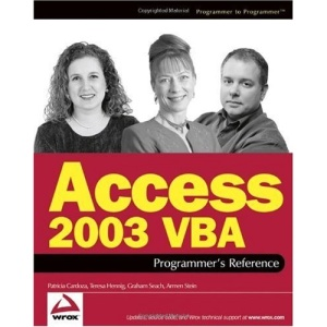 Access 2003 Vba Programmer's Reference (Wrox Press) (Programmer to Programmer)