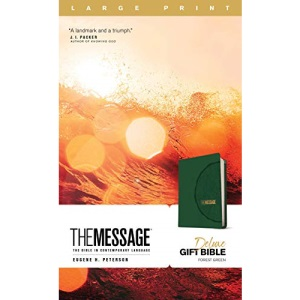 Message Deluxe Gift Bible, Large Print (Leather-Look, Green): The Bible in Contemporary Language