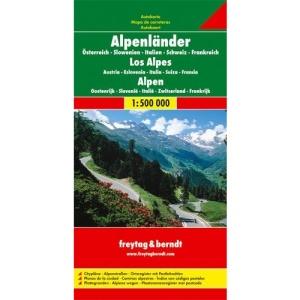 Alps f&b r/v (+r) (AU+SI+IT+CH+FR): Österreich / Slowenien / Italien / Schweiz / Frankreich. Citypläne. Alpenstraßen. Ortsregister mit Postleitzahlen (Europa)