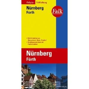 Falkplan Nürnberg / Fürth: Mit Ortsteilen von Schwaig, Stein, Oberasbach, Zirndorf. Straßenverzeichnis mit Postleitzahlen. Falk-Faltung
